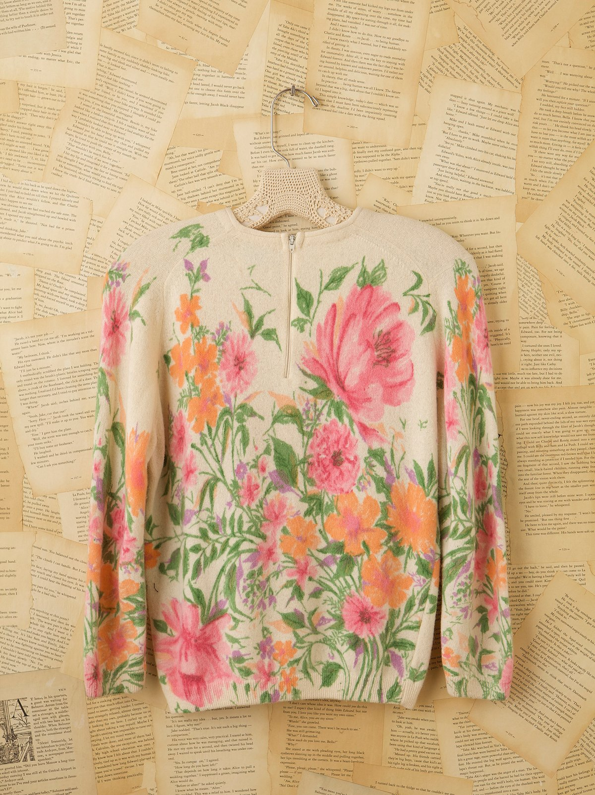 Vintage Cream Printed Sweater