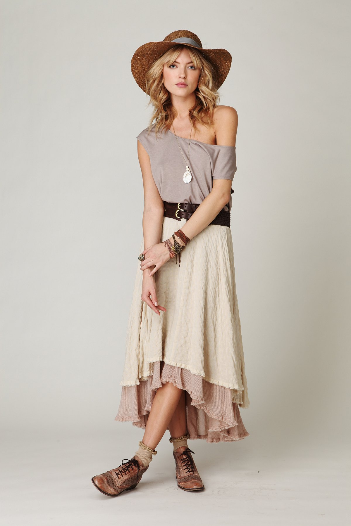 Plaid High Low Maxi Skirt