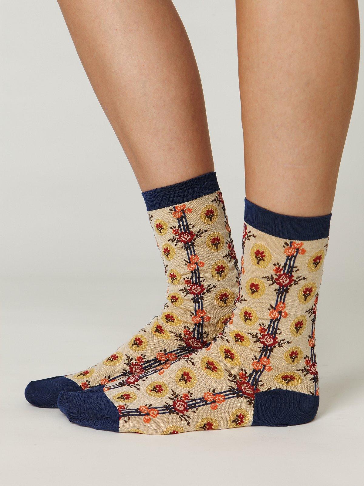 Vintage Floral Boot Socks