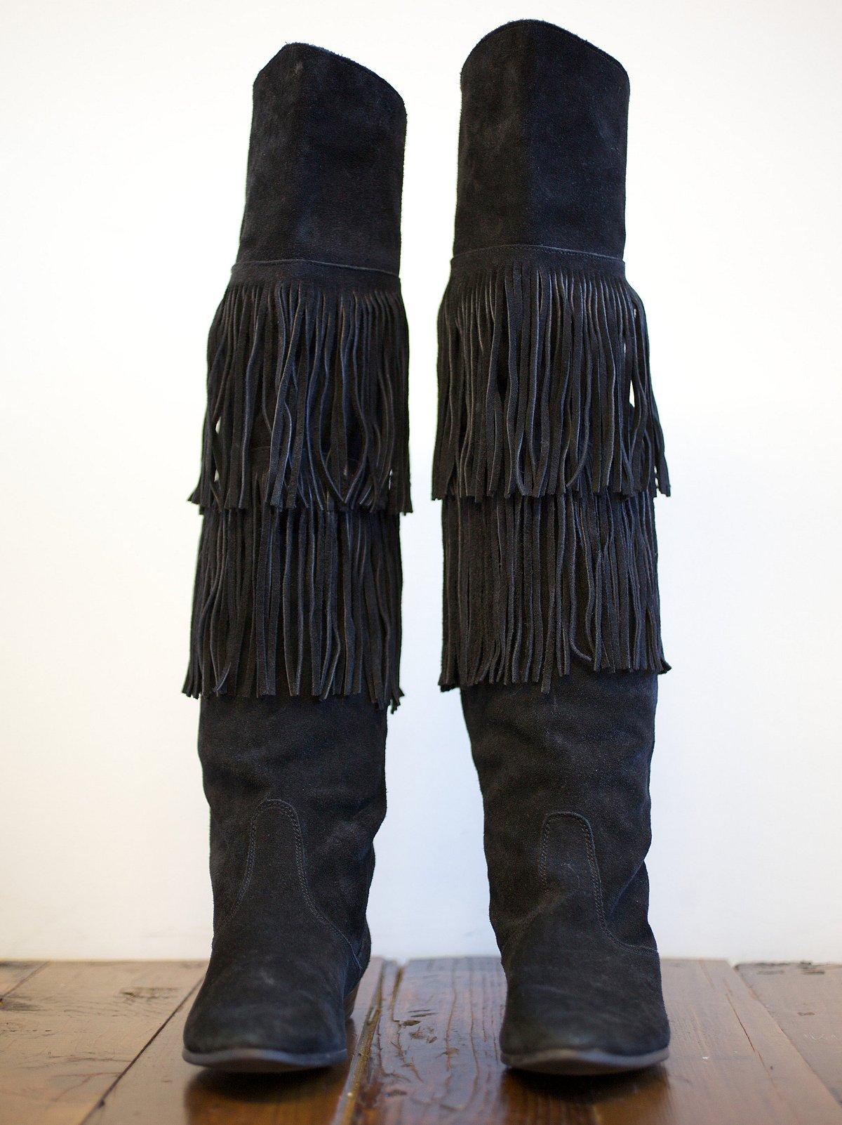 Vintage Tall Fringe Boots