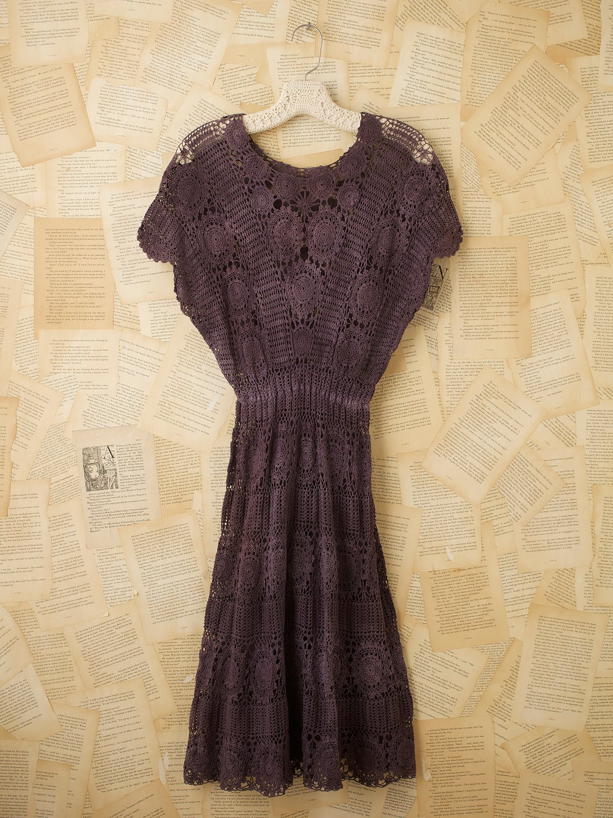Vintage Purple Crochet Dress