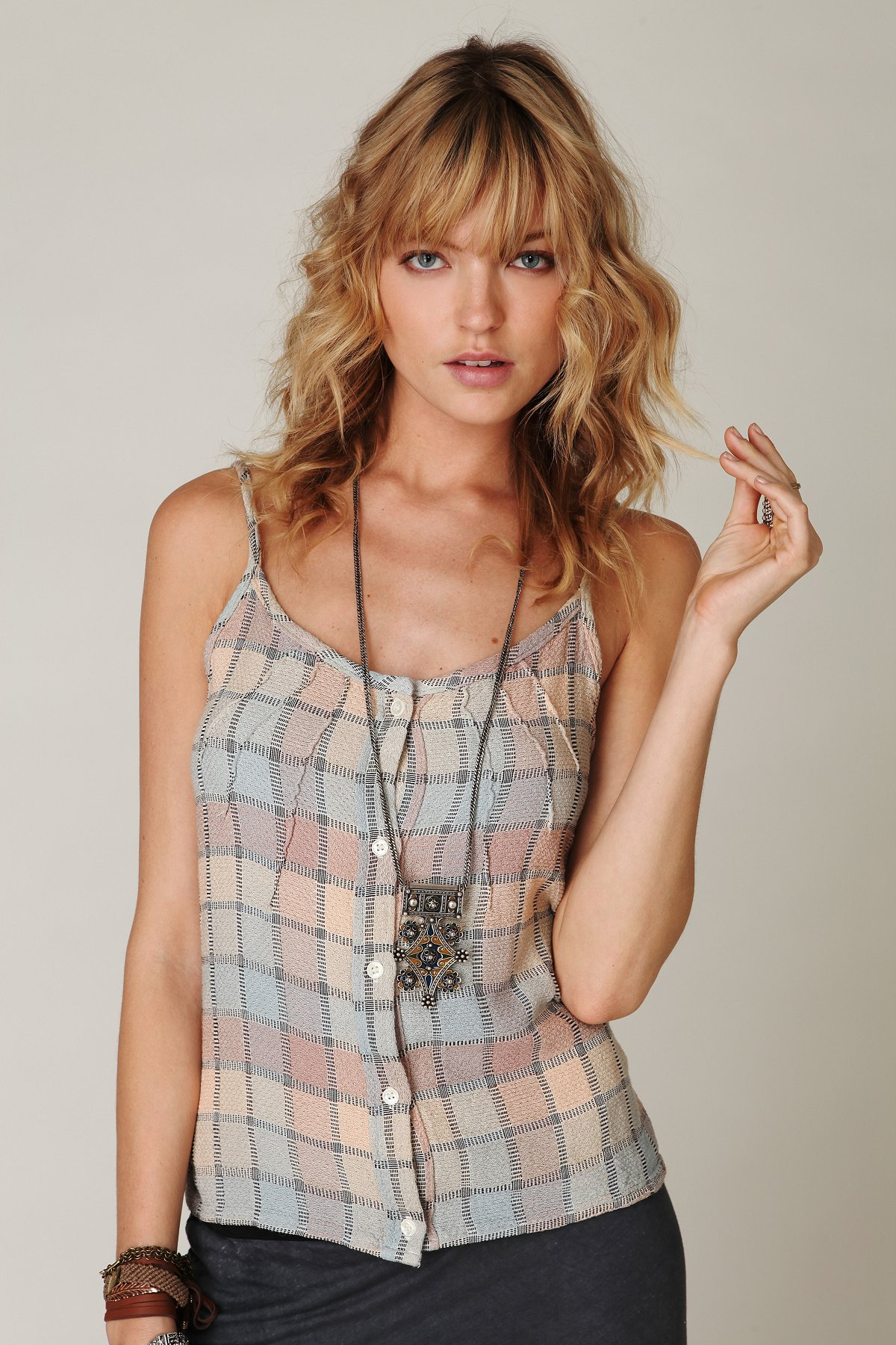 Sleeveless Plaid Buttondown Cami