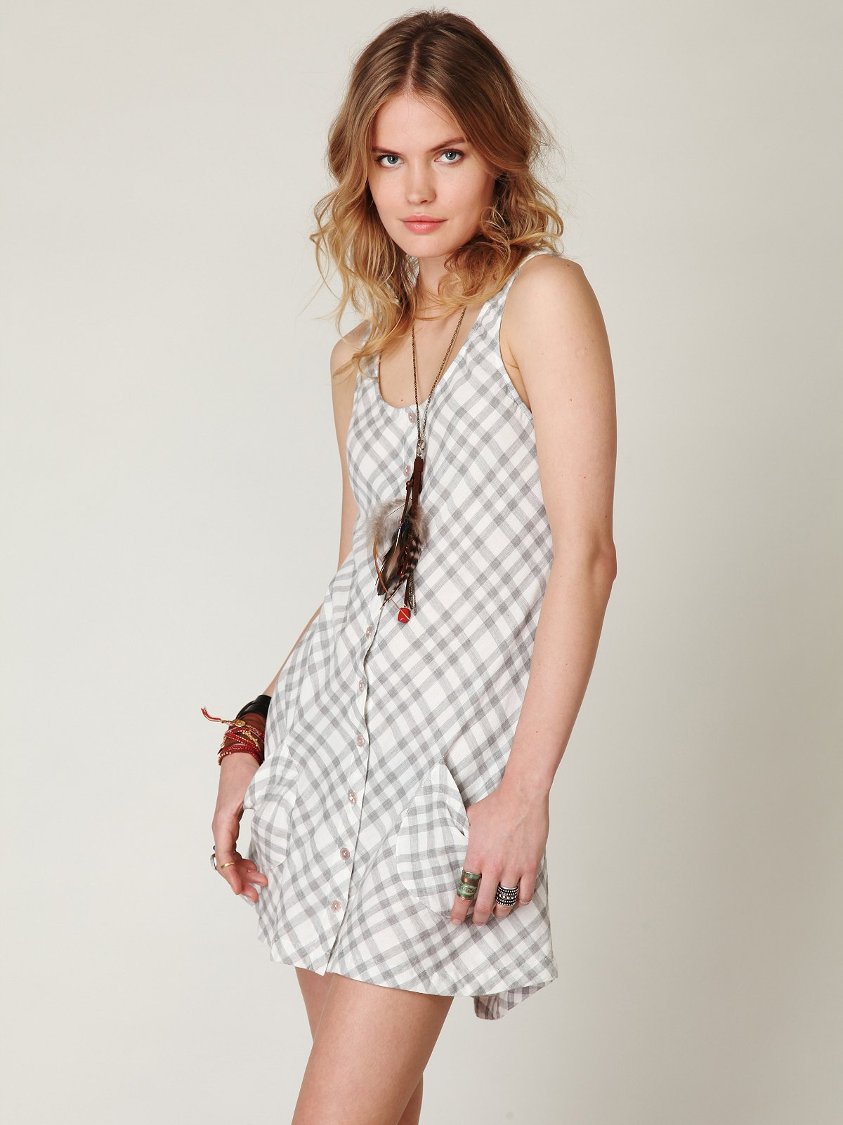 Plaid Sleeveless Shirt Dress
