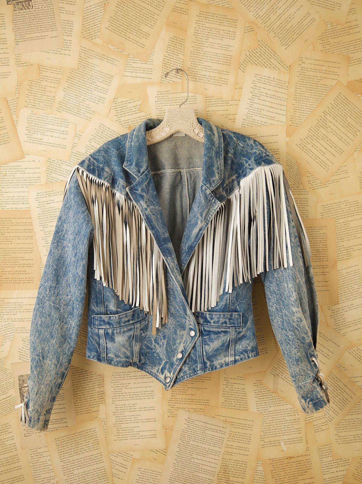 Vintage Denim Jacket with Fringe