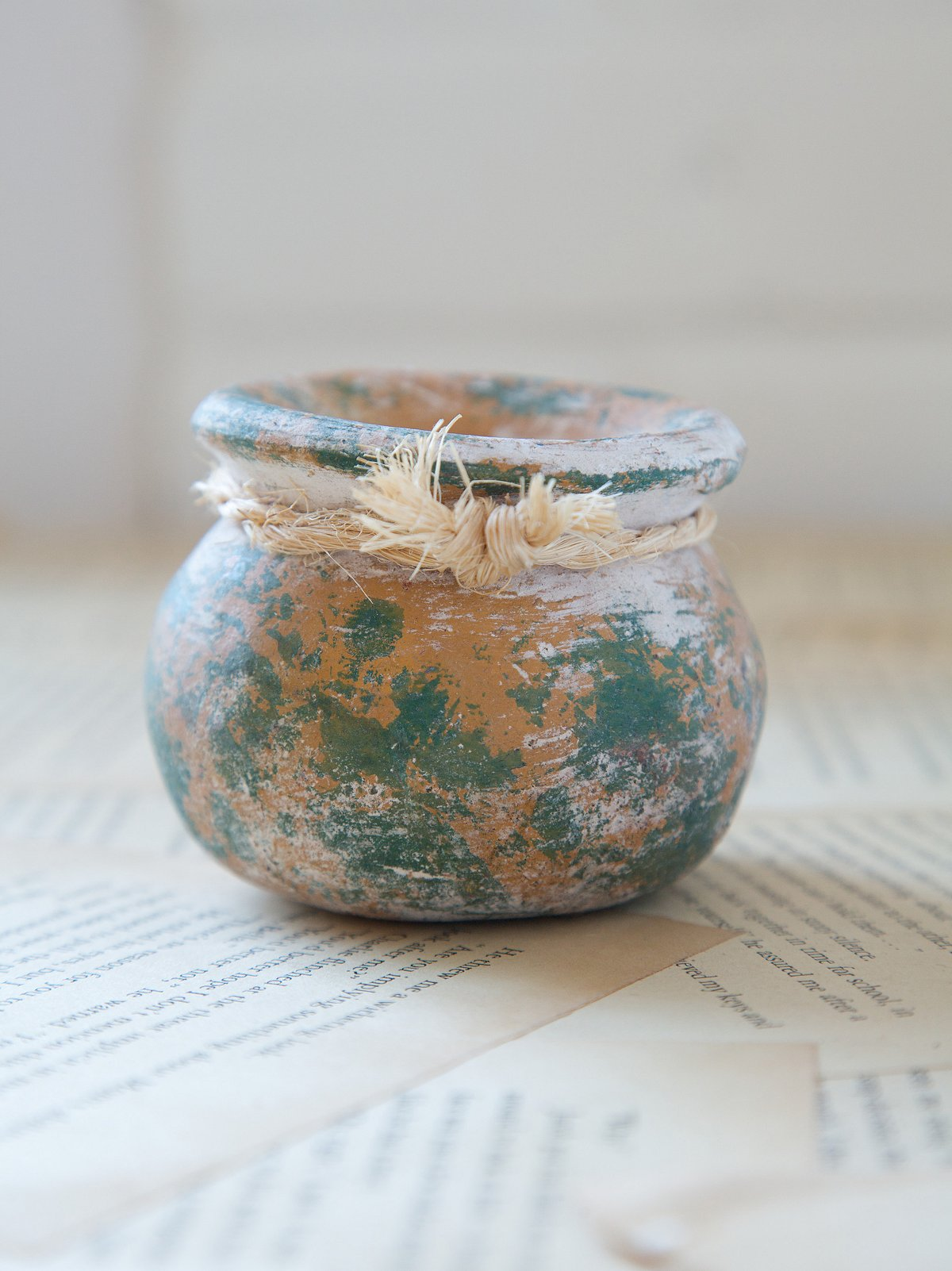 Vintage Colorful Clay Pot