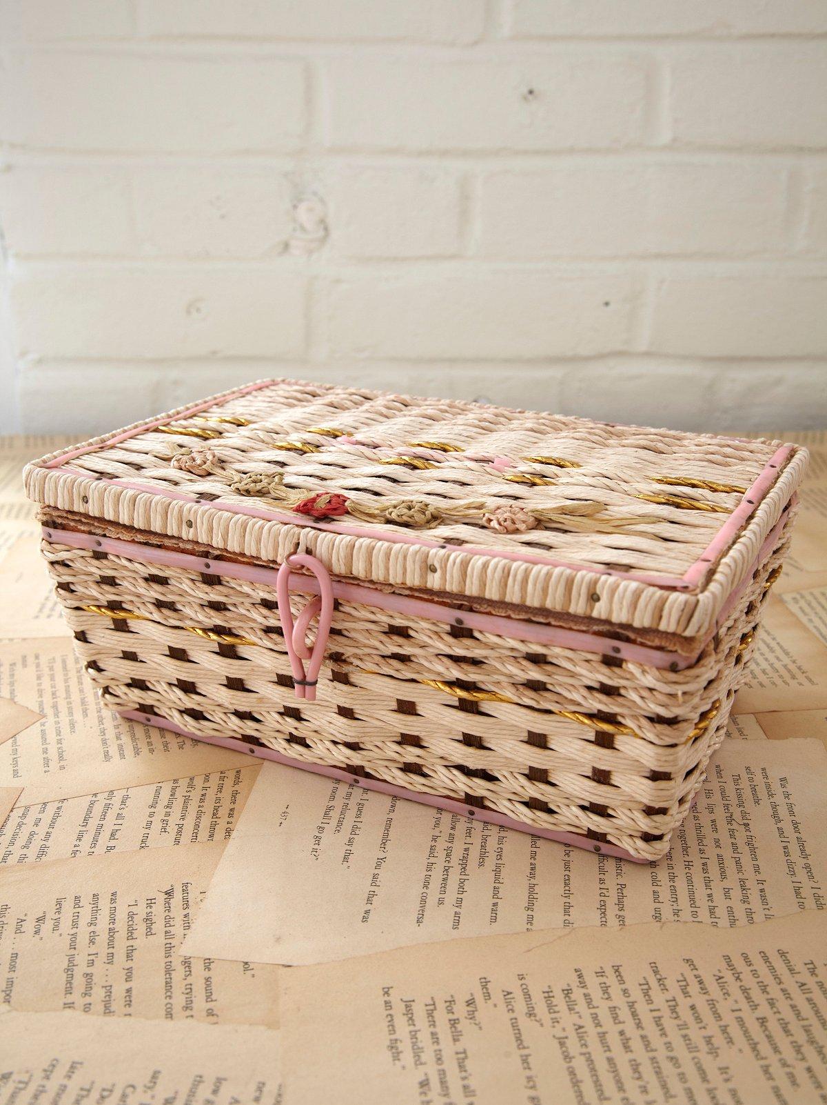 Vintage Straw Sewing Box
