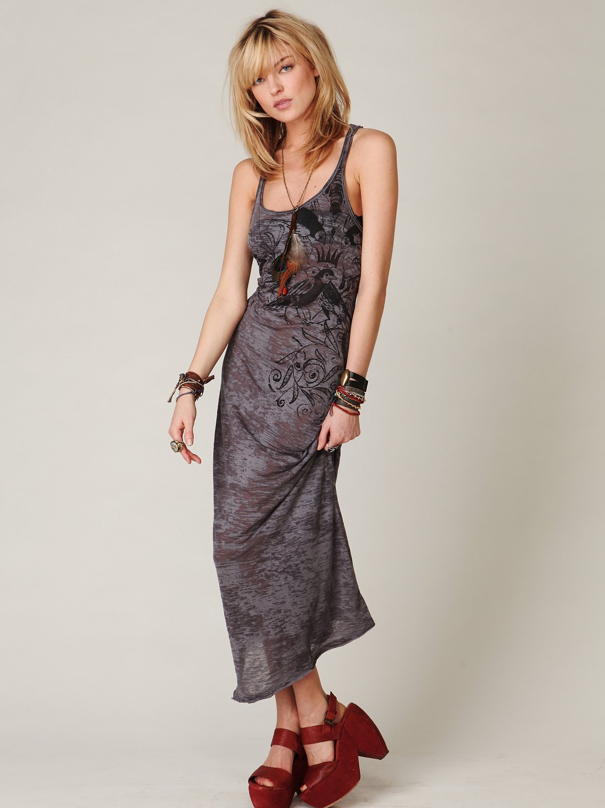 We The Free Feathered Maxi Dress