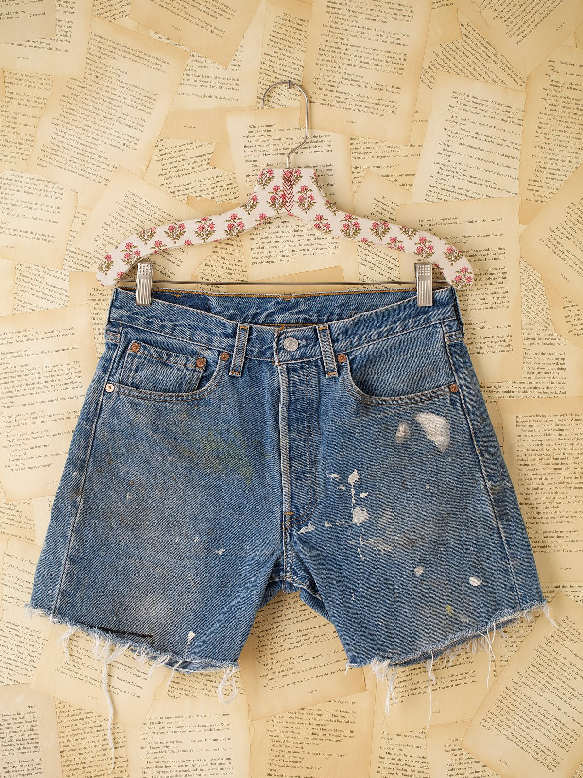 Vintage Levis Cutoffs with Paint