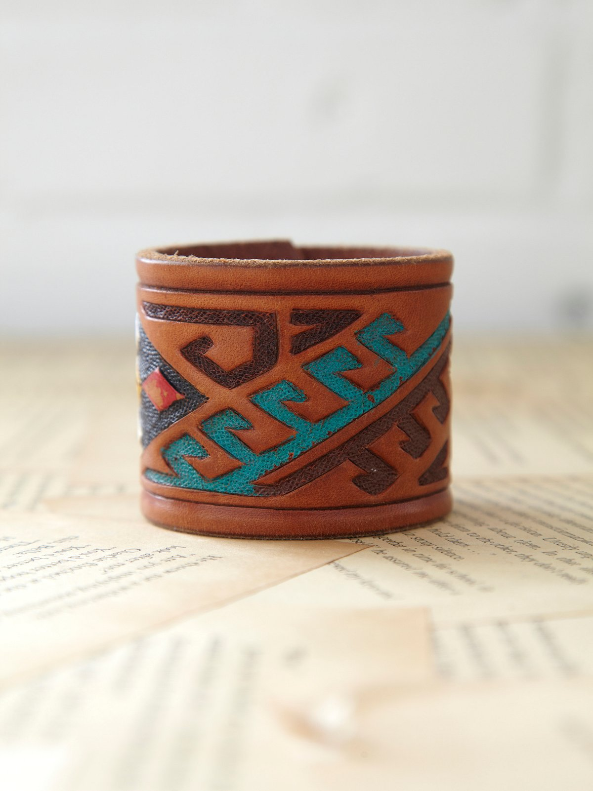 Vintage Leather Snap Cuff
