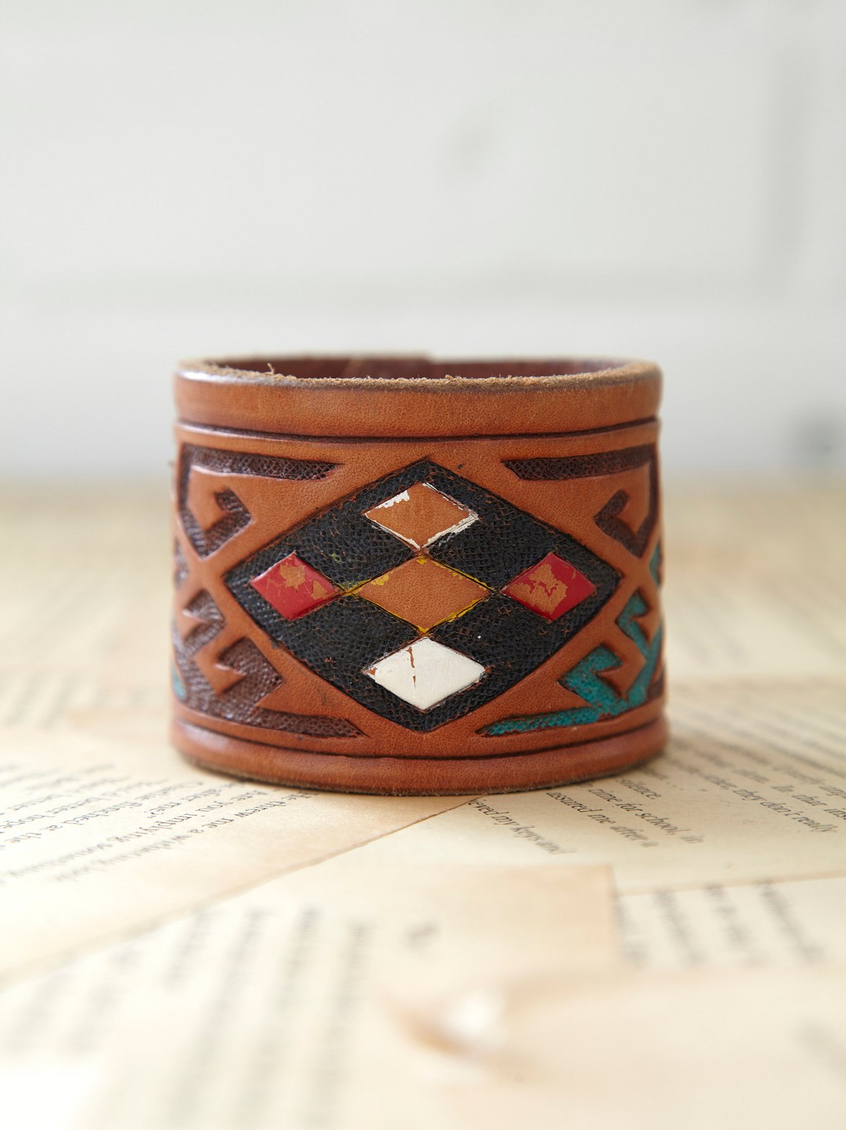 Vintage Leather Belt Cuff