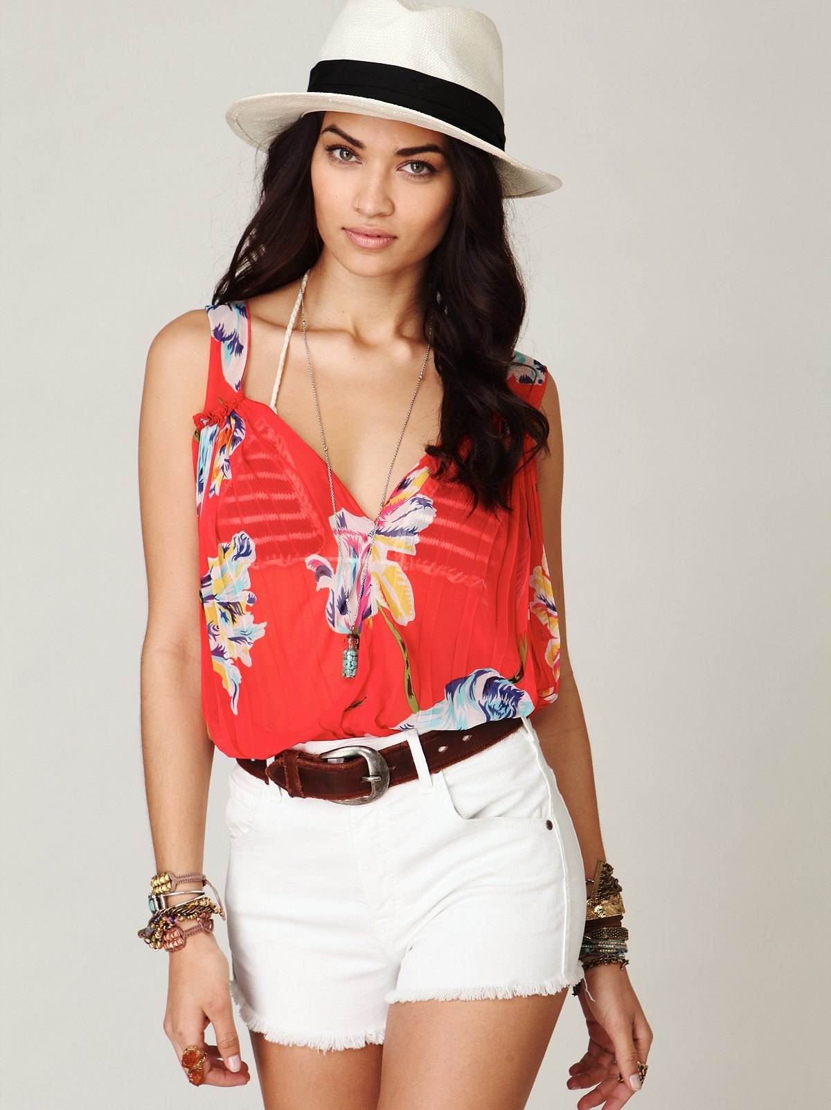 Pleated Florals Top