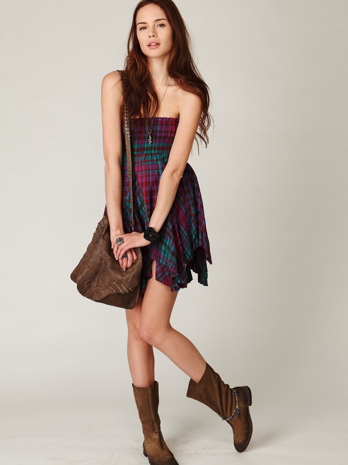 FP ONE Plaid Smocked Skirt