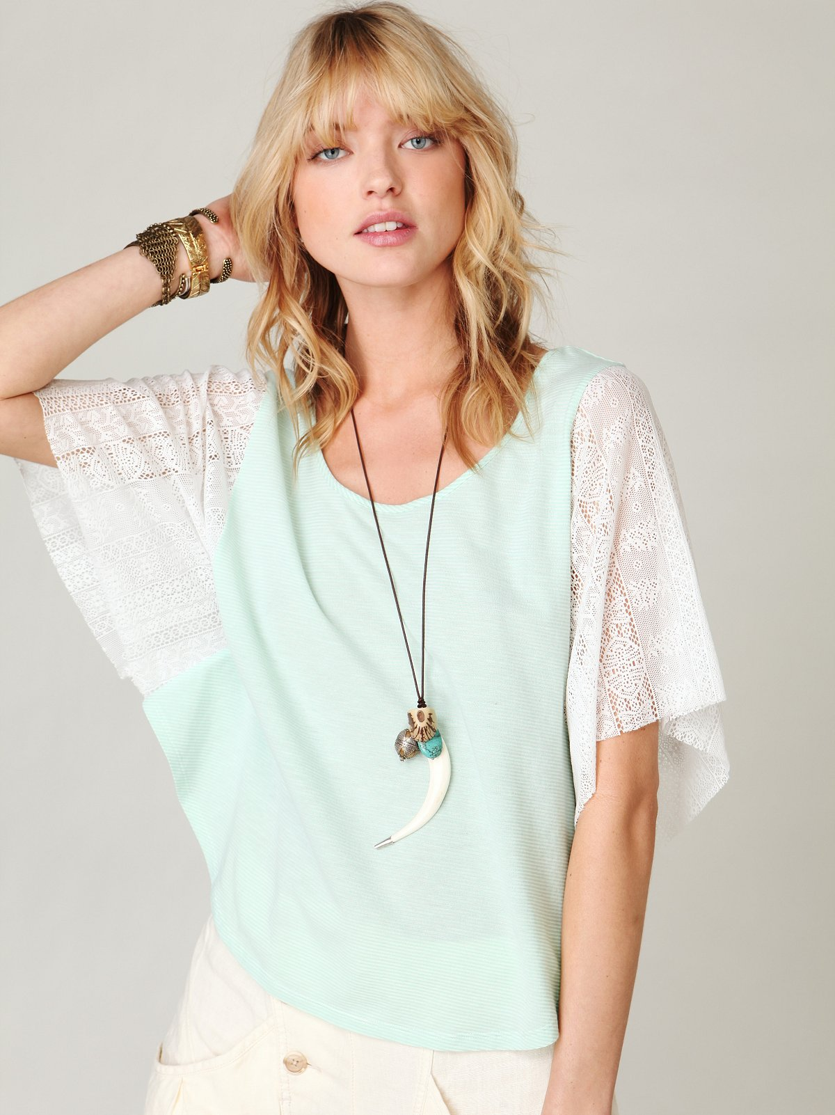 We The Free Striped Lace Sleeve Top
