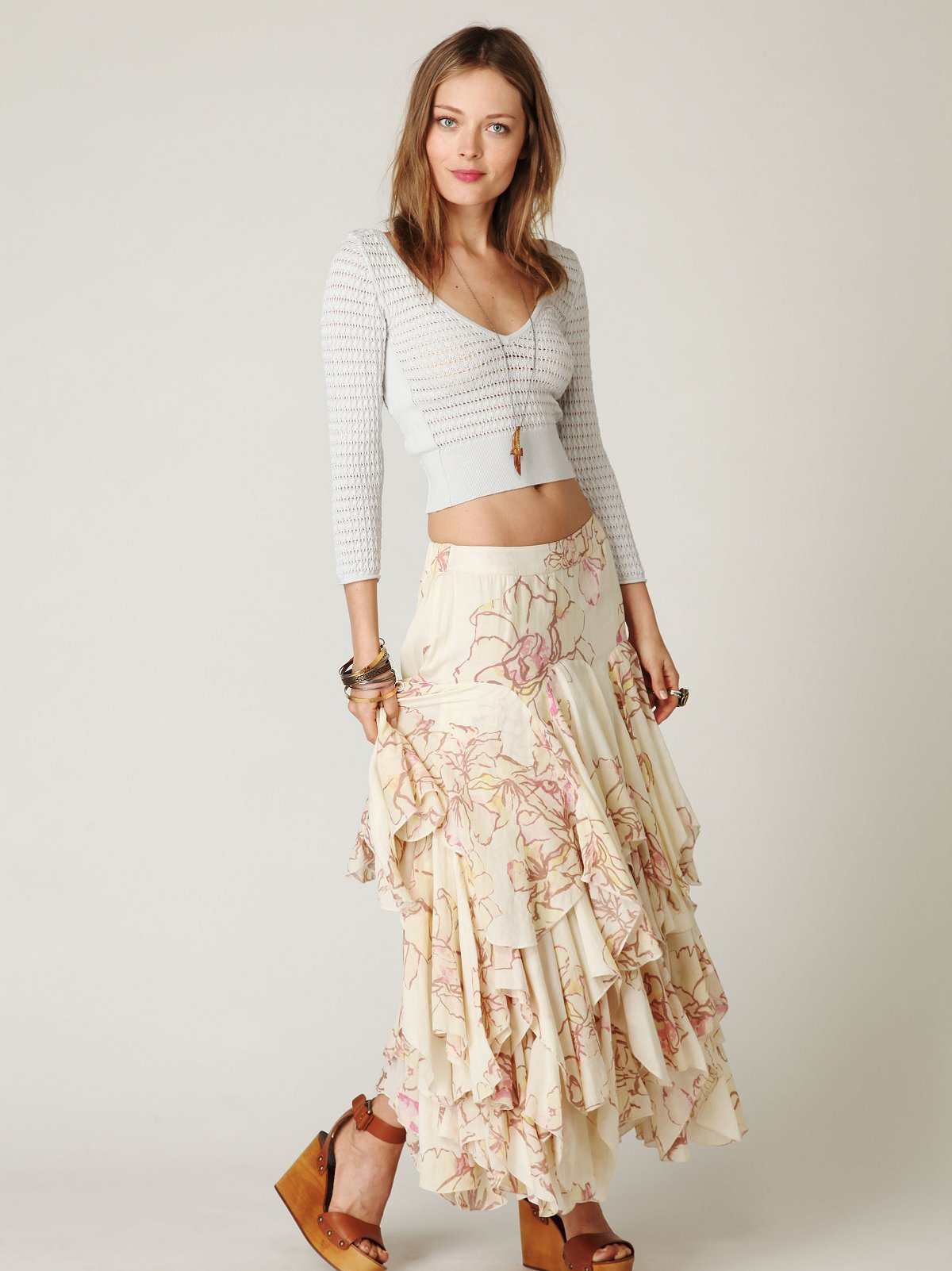 rounded godet maxi skirt at free clothing boutique
