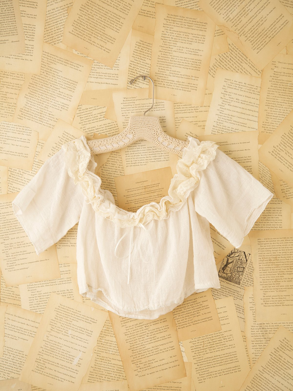 Vintage Off the Shoulder Crop Top