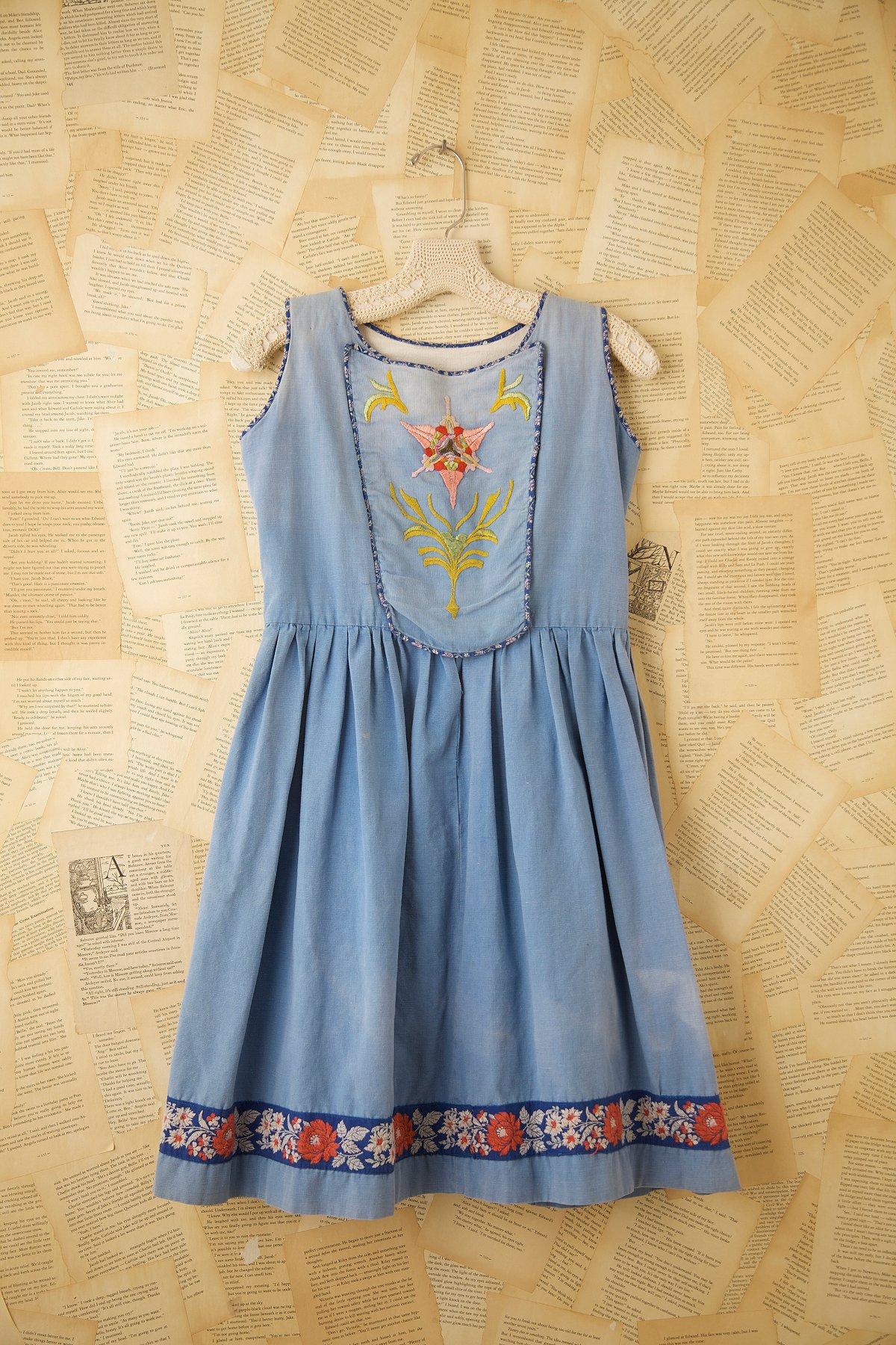 Vintage Embroidered Bib Dress