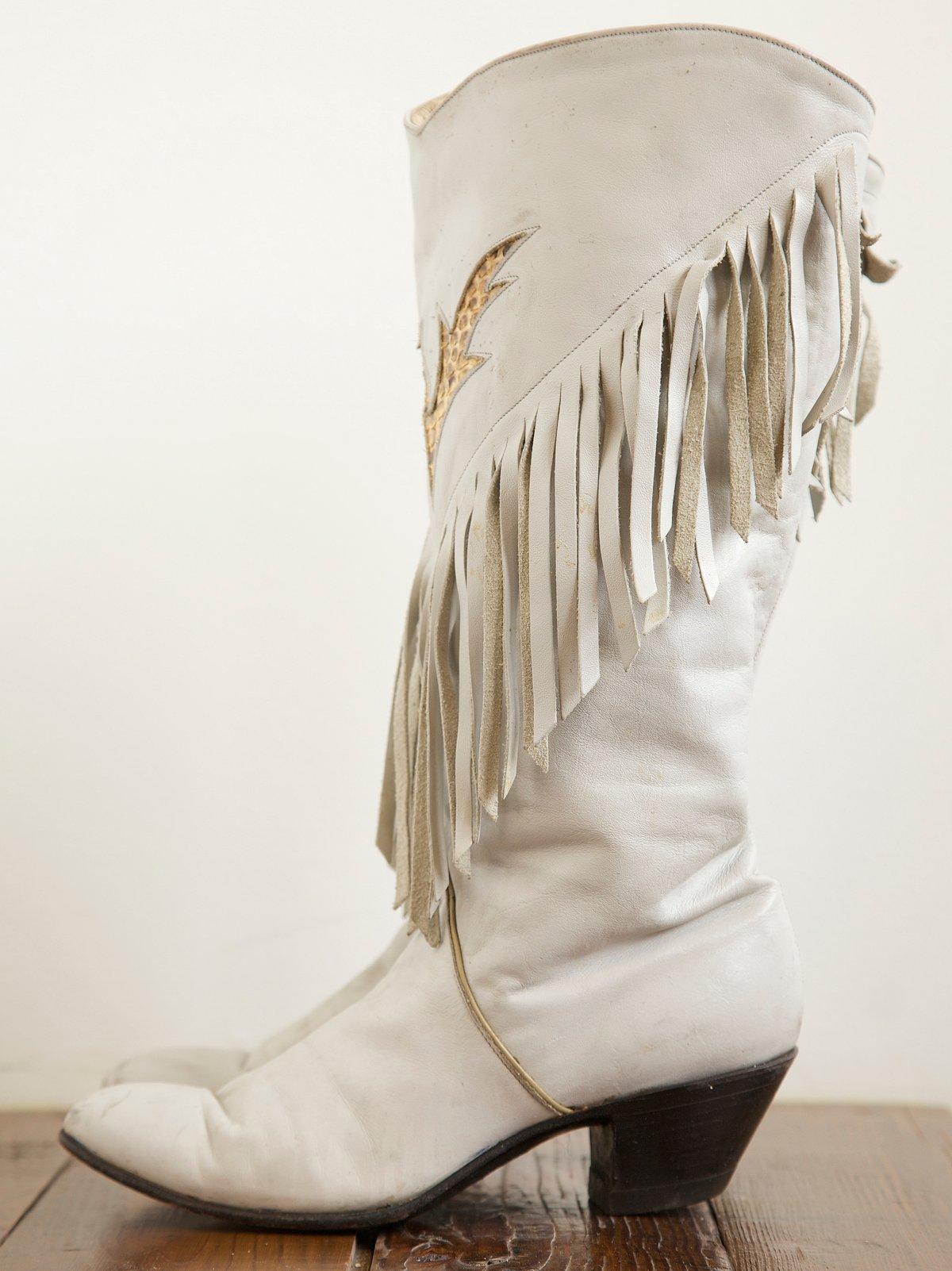 Vintage Cream Fringe Boots