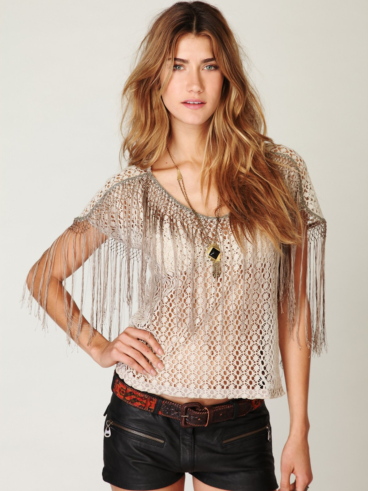 FP New Romantics Fringe Sleeve Top