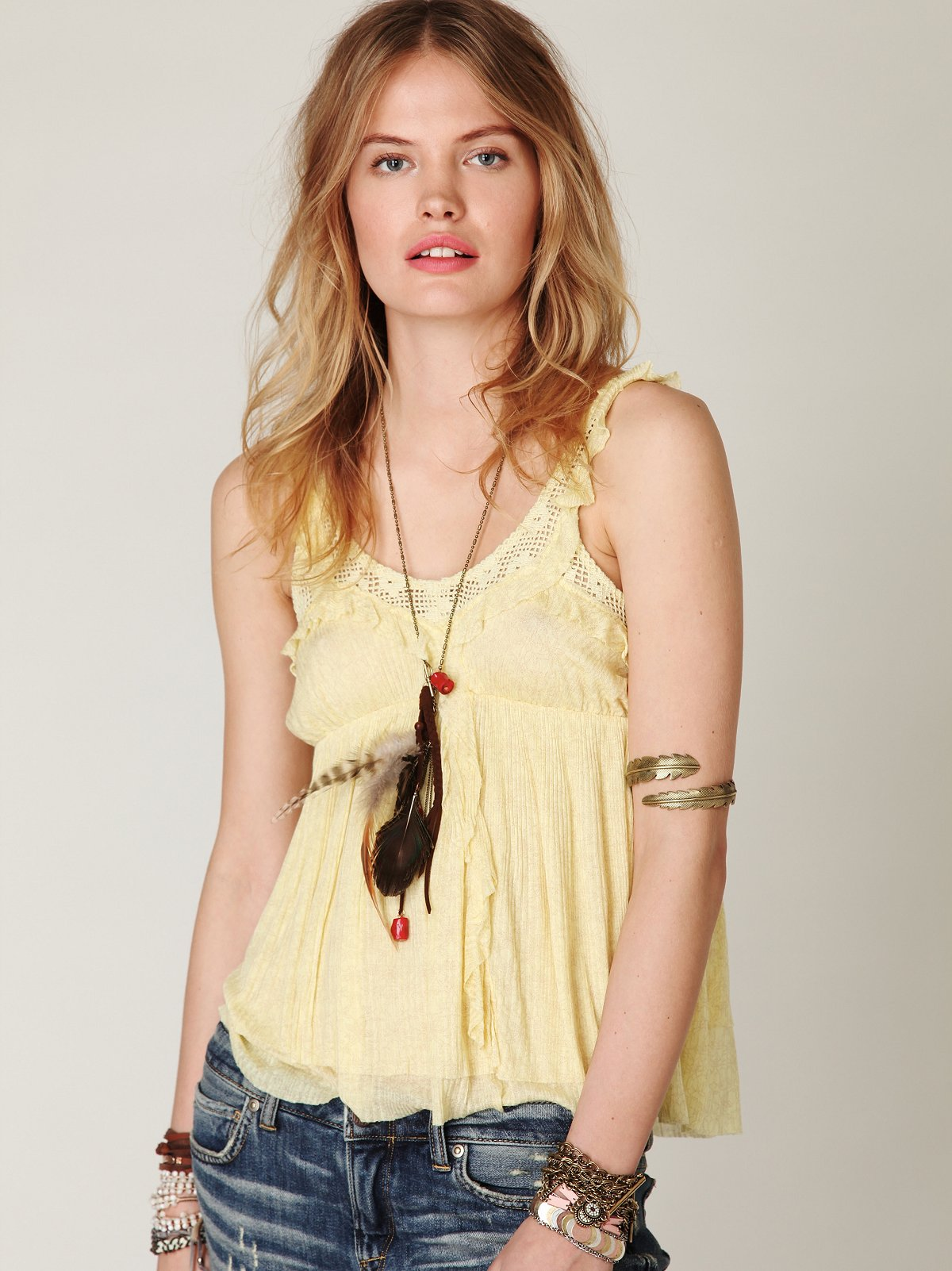 Printed Lovely Lady Ruffle Tank