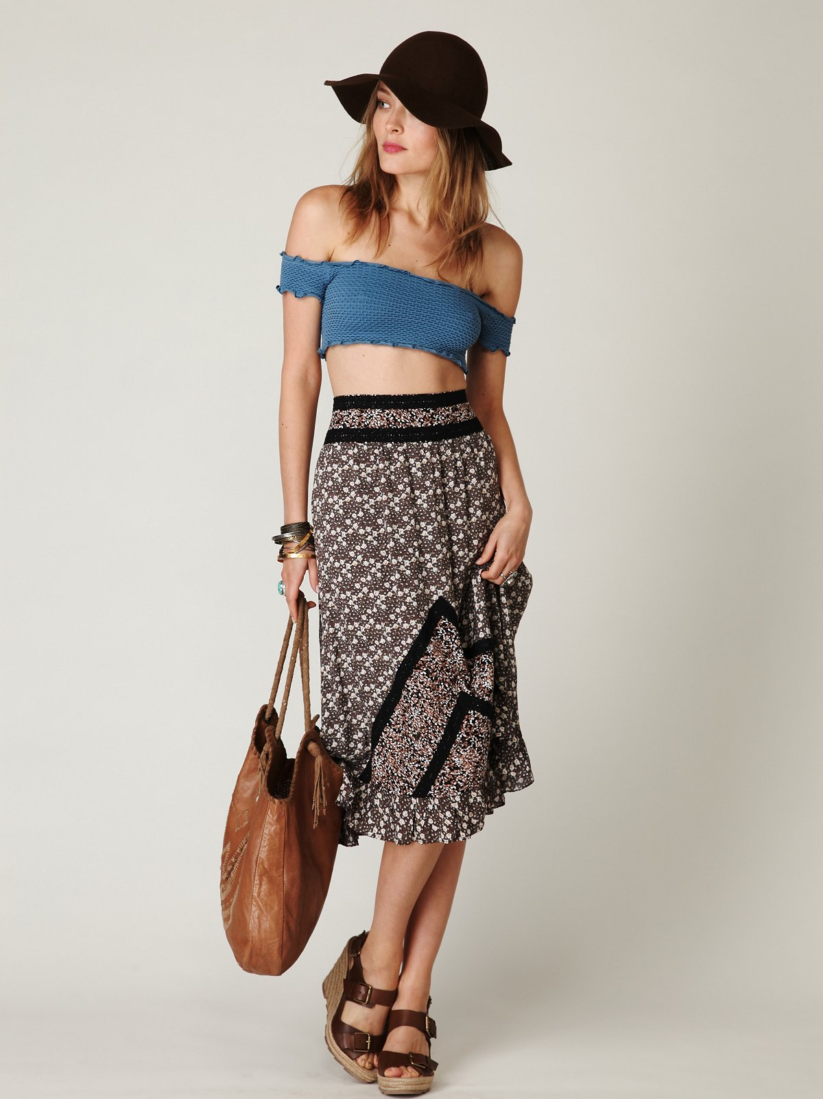 Printed Tea Length Skirt