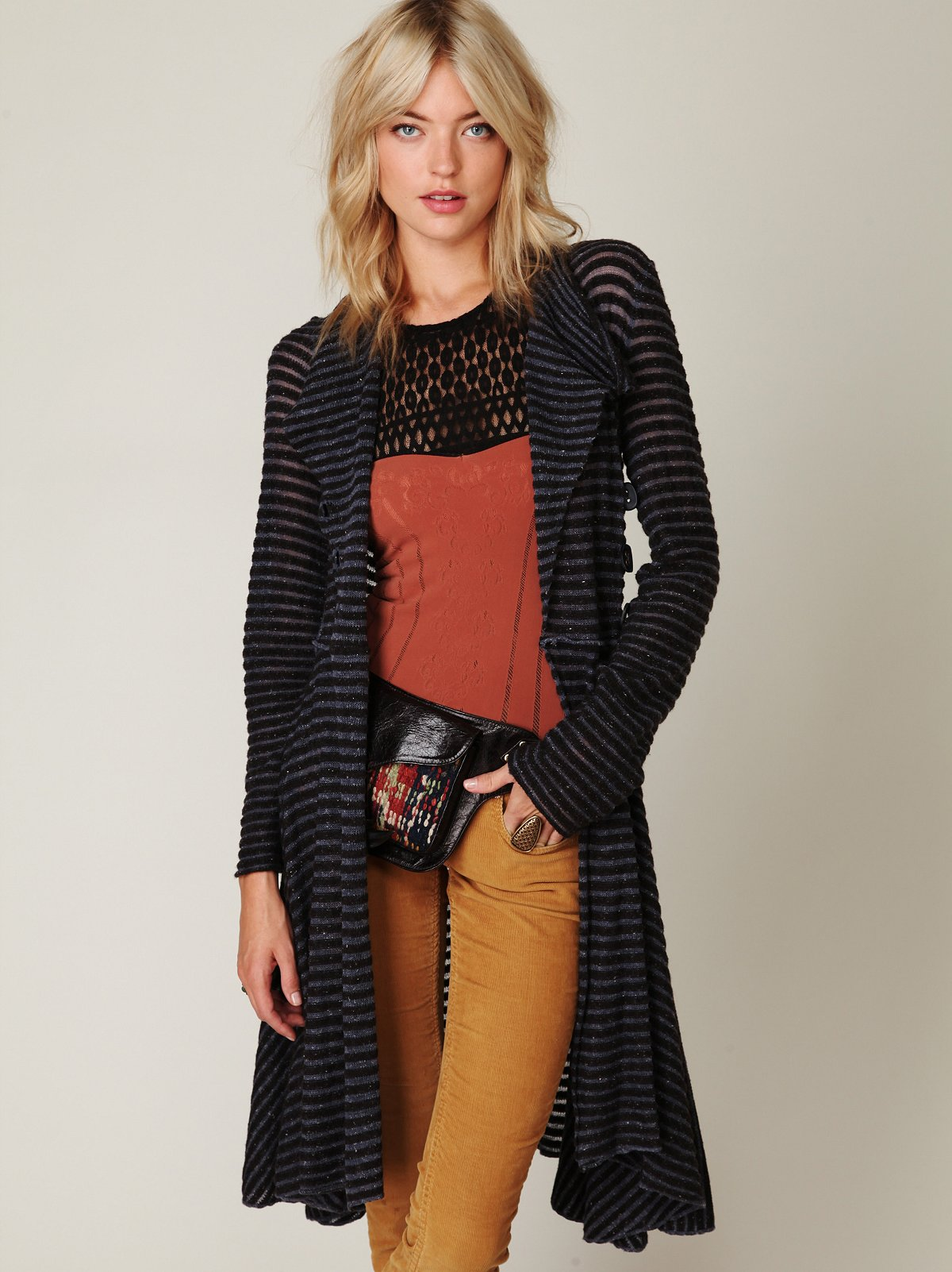Sheer Stripe Long Cardigan