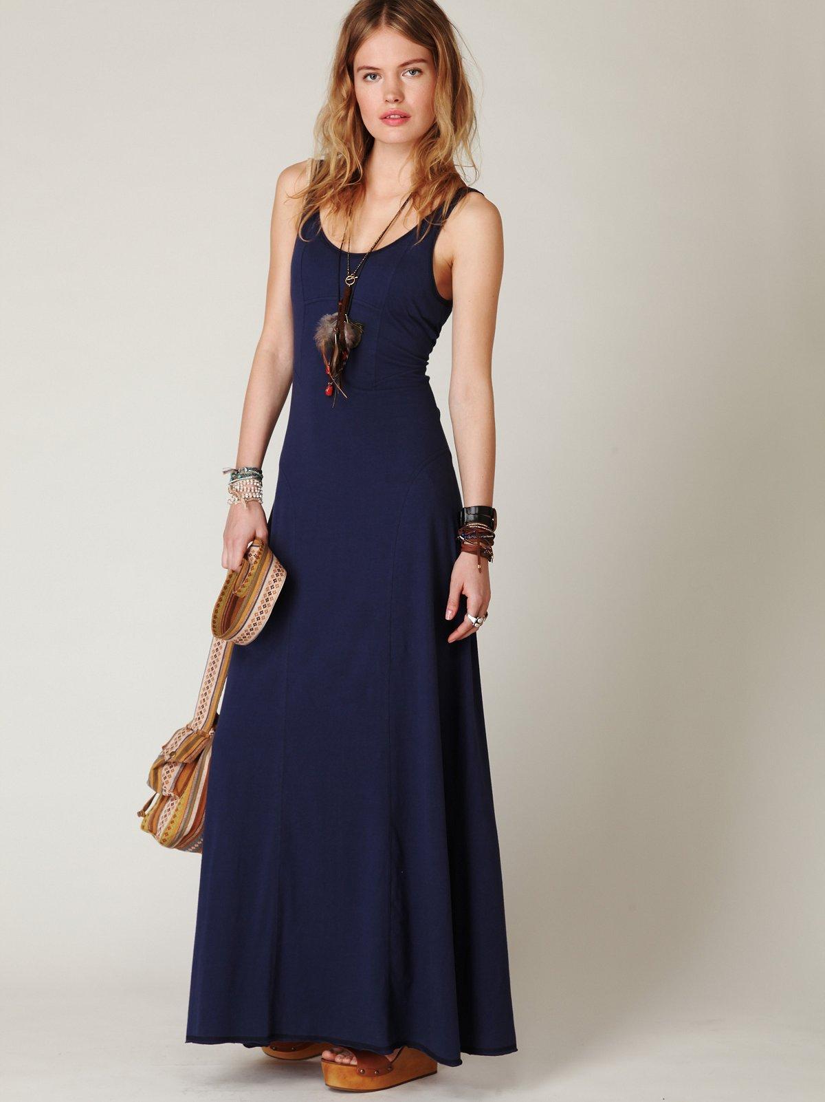 Seamed Open Back Maxi Dress