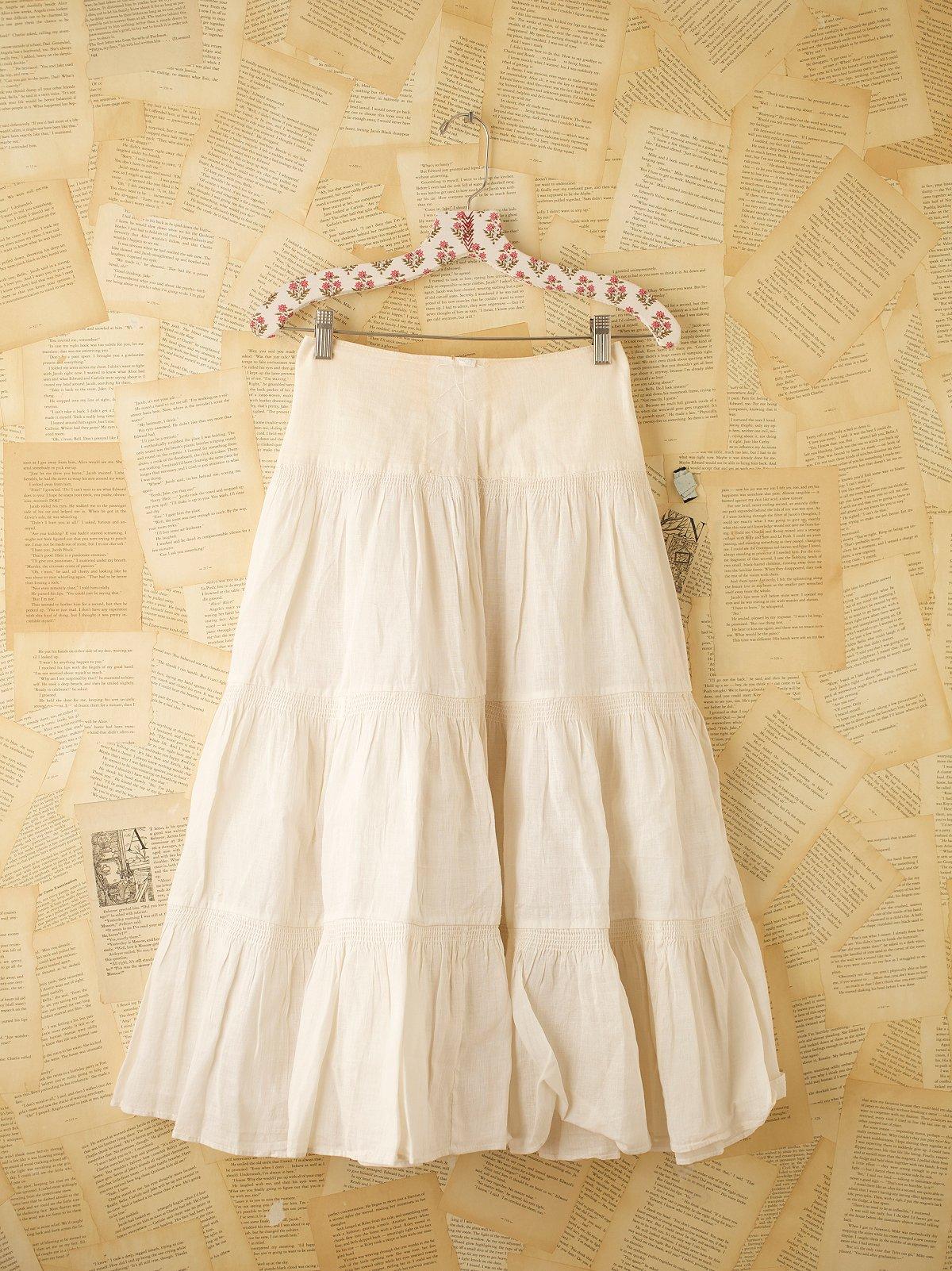Vintage Cream Tiered Skirt