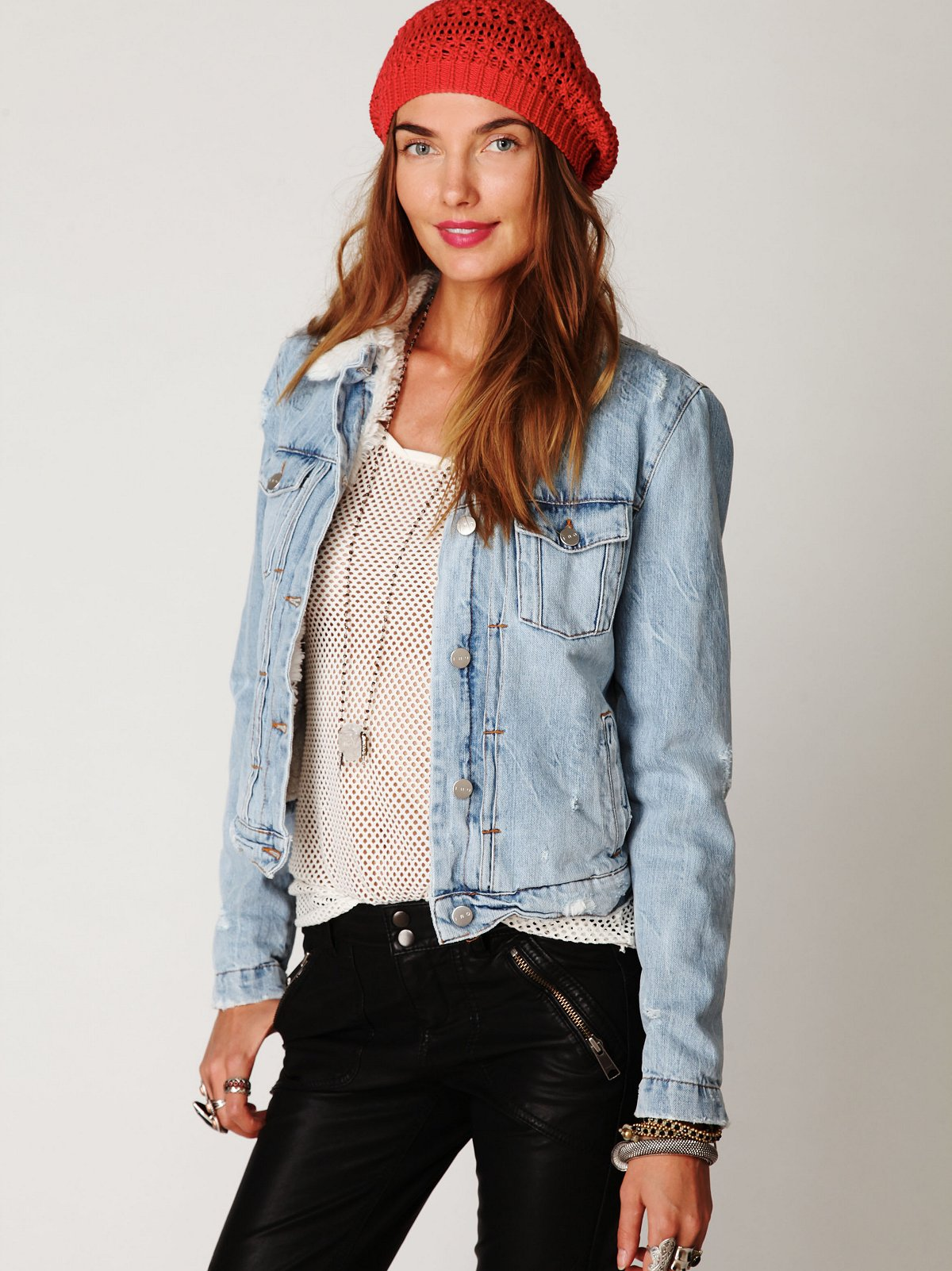 IRO Denim Sherpa Jacket