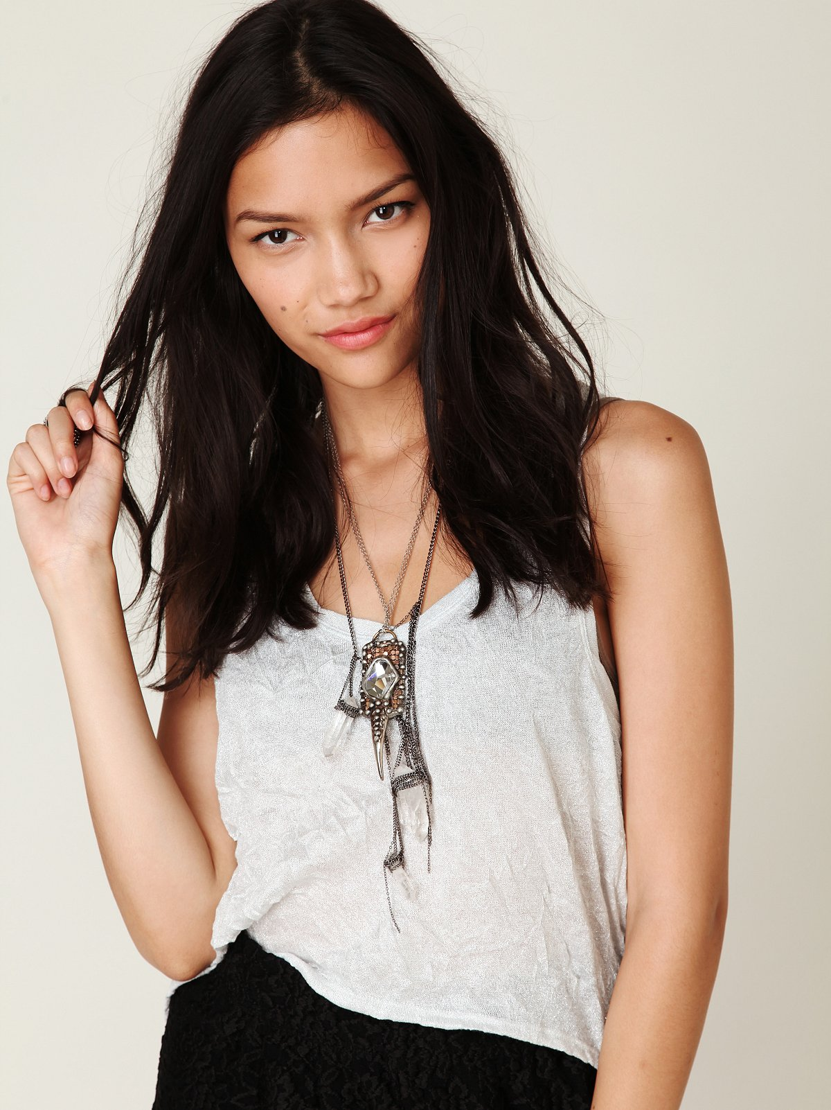 Glitter Crinkle Cropped High Low Tank