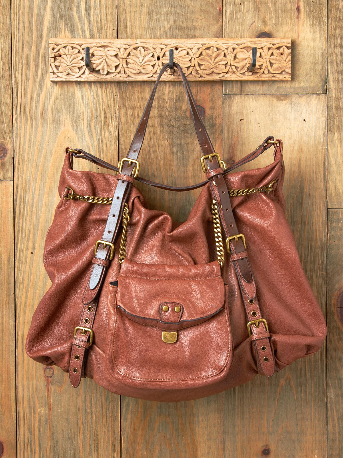 Chain Reaction Leather Bag