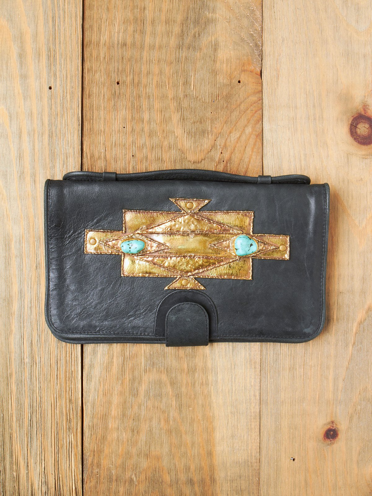 Neka Turquoise and Brass Clutch