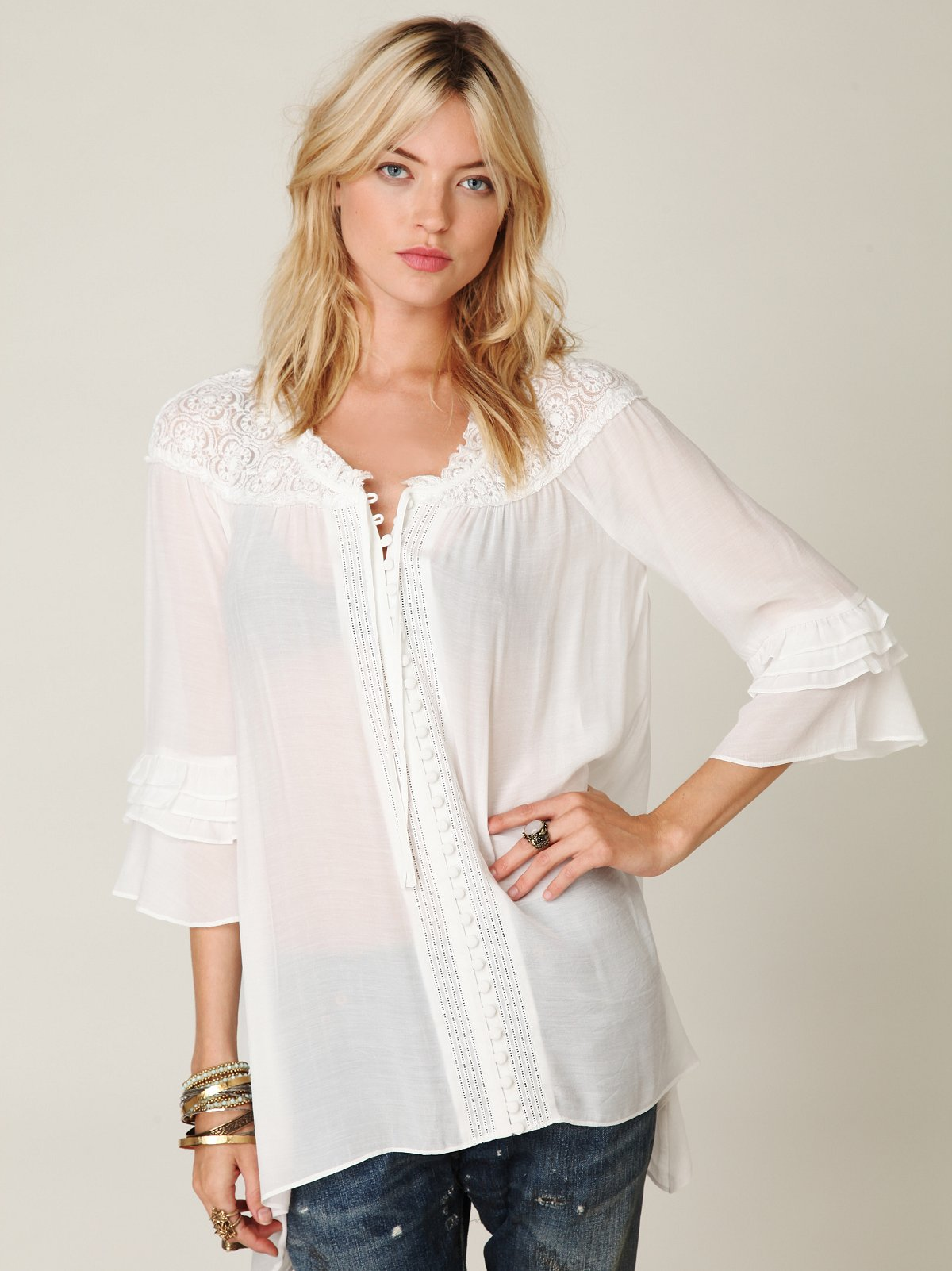 Sheer Shoulder Buttondown with Ruffle Sleeves