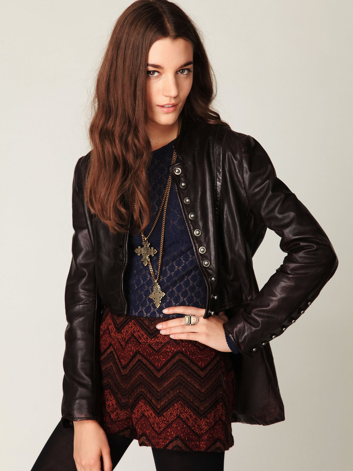 Muubaa Military Leather Jacket