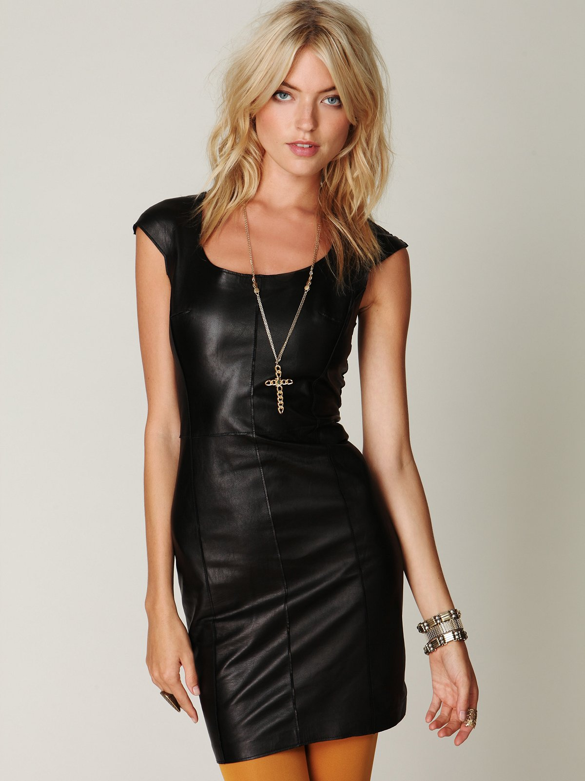 Leather Cap Sleeve Dress
