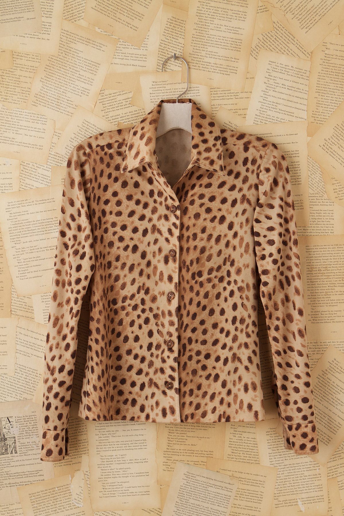 Vintage Long Sleeve Leopard Blouse