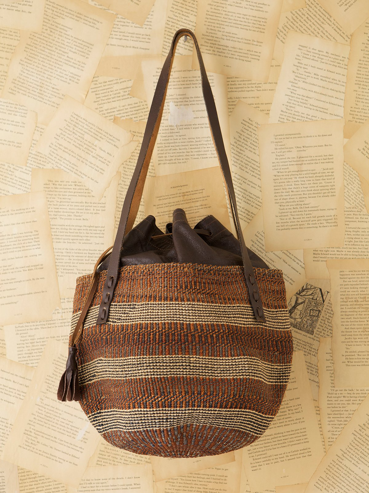 Vintage Straw Bag With Leather Interior