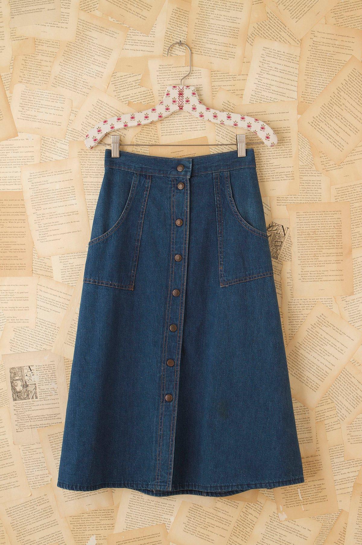 Vintage Snap Front Denim Skirt