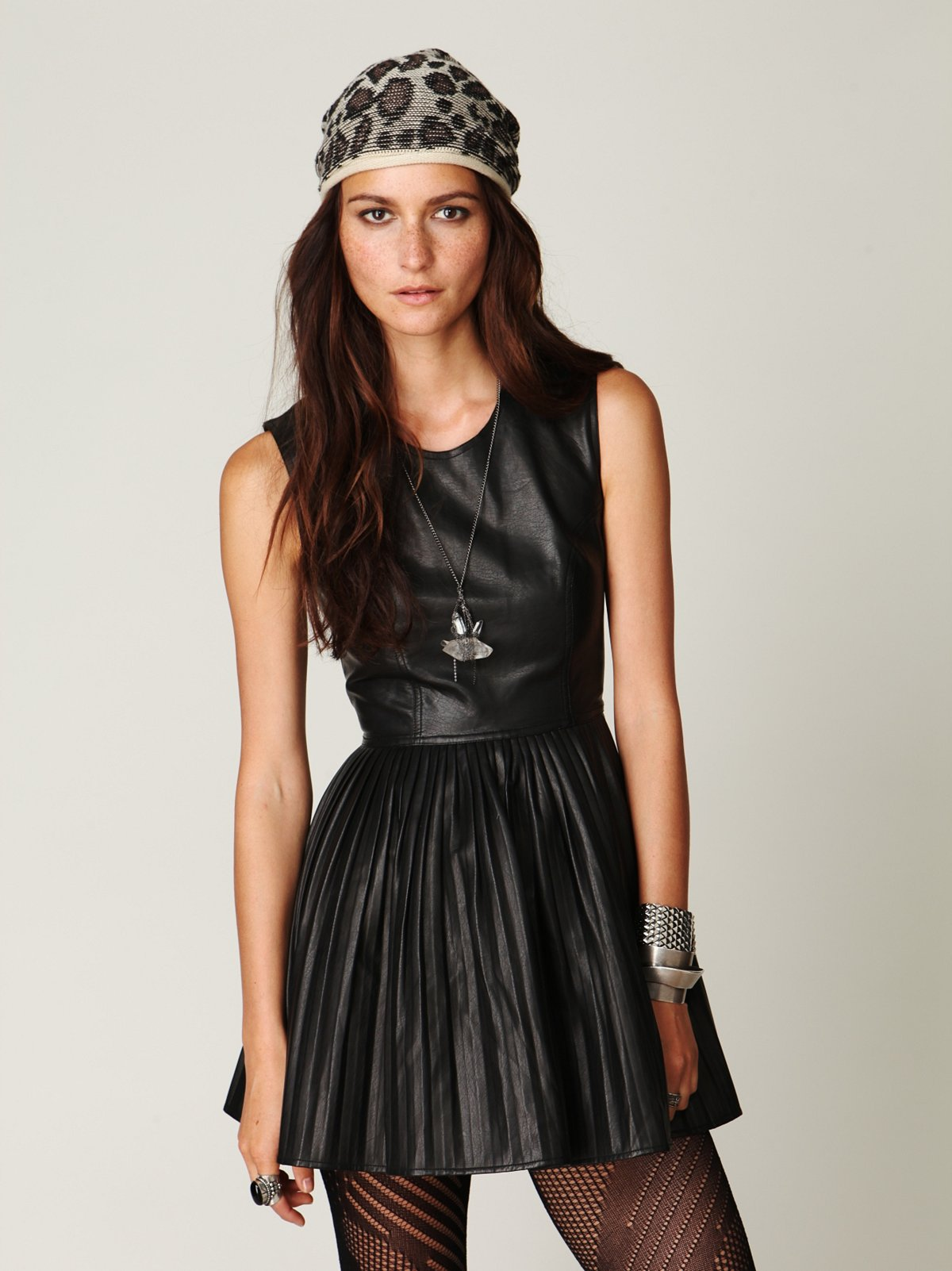 Pleated Vegan Leather Dress