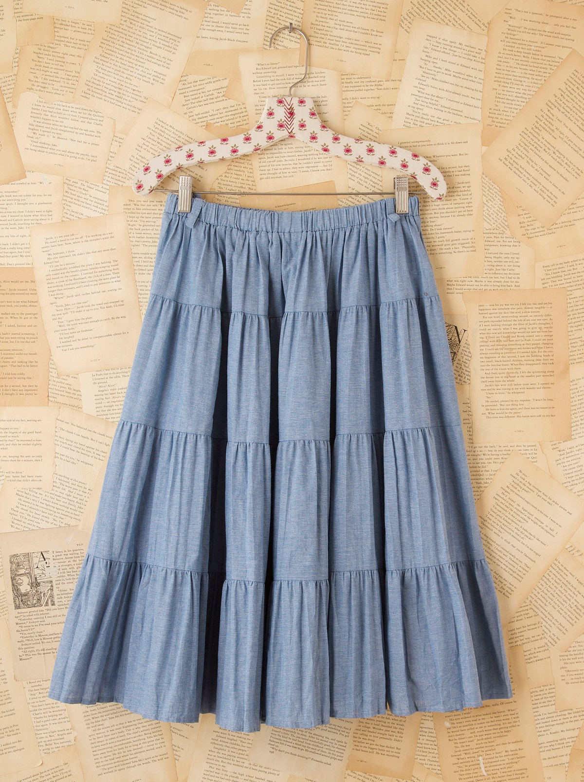 Vintage Tiered Chambray Skirt