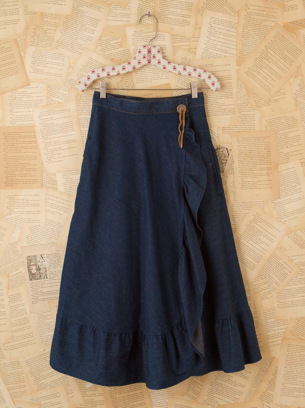 Vintage Denim Skirt With Concho Button