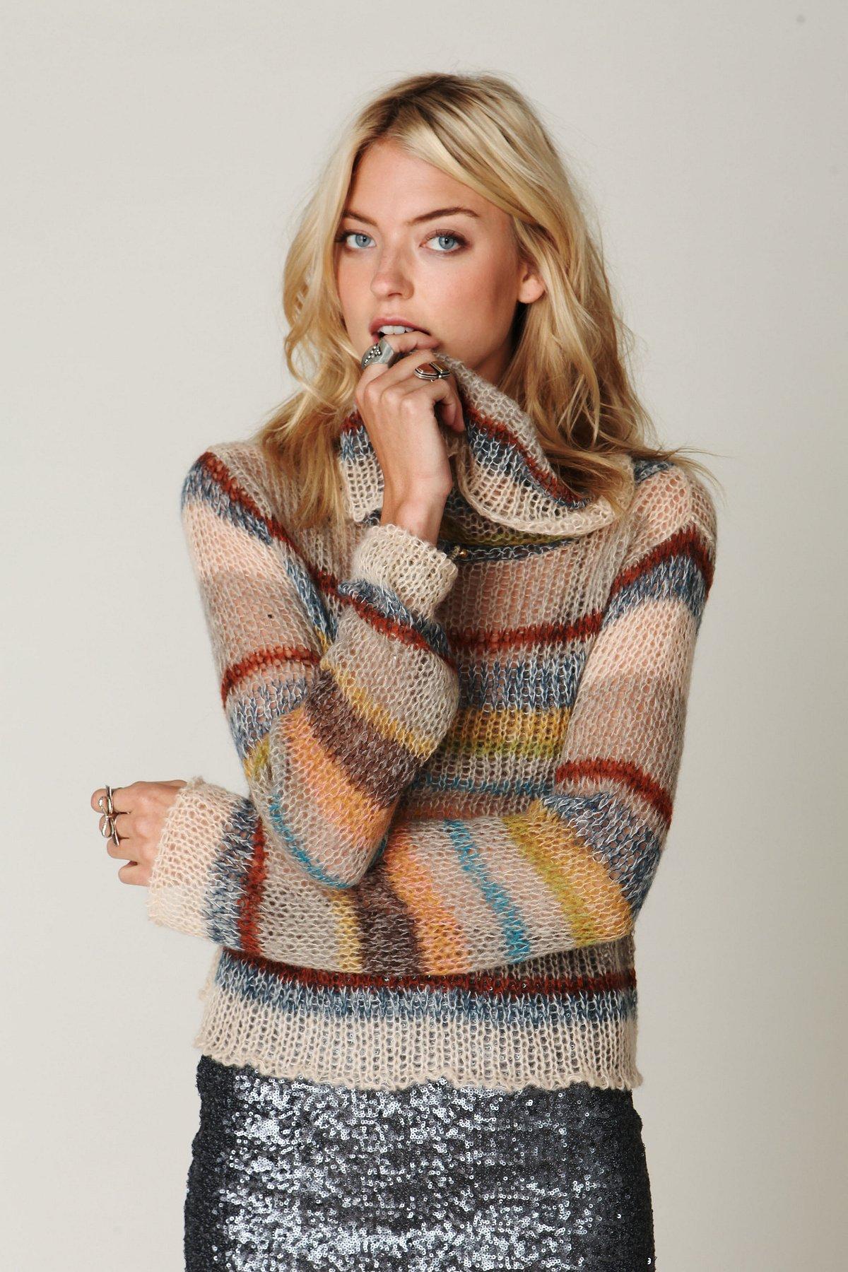 Stripe Cowl Neck Sweater