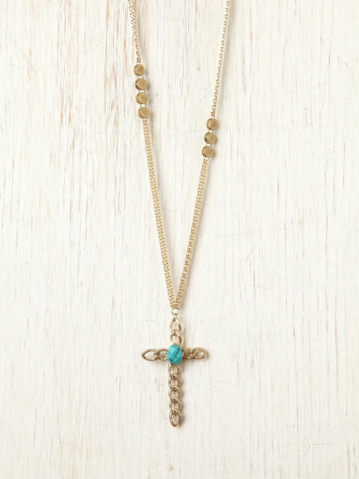 Semi-Precious Cross Pendant