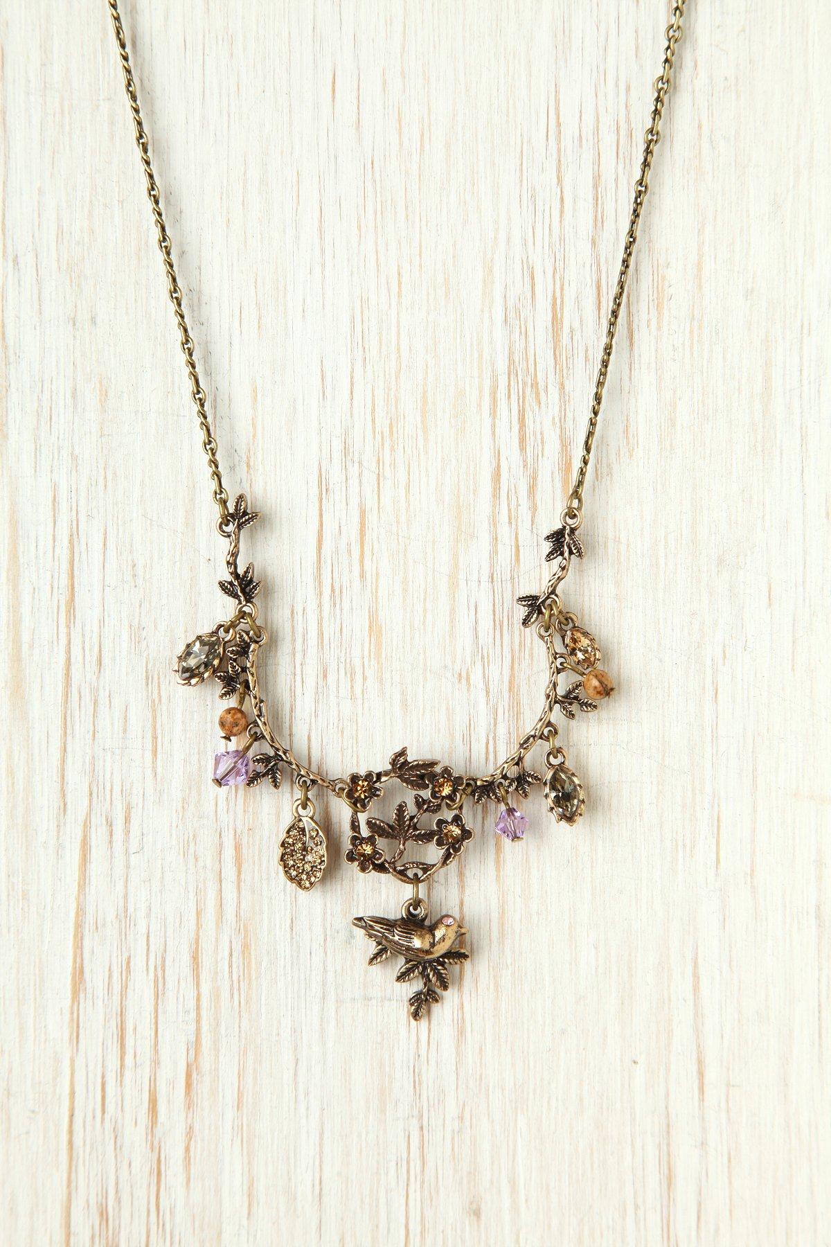Gem Stone and Leaf Bib Necklace