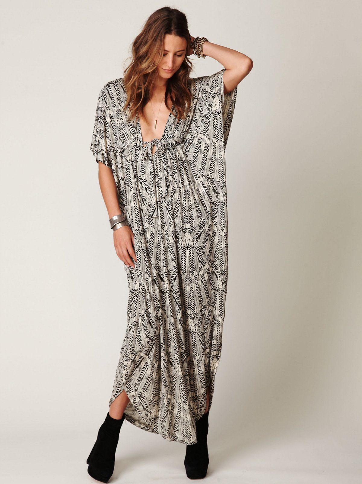 Long Printed Kaftan Dress