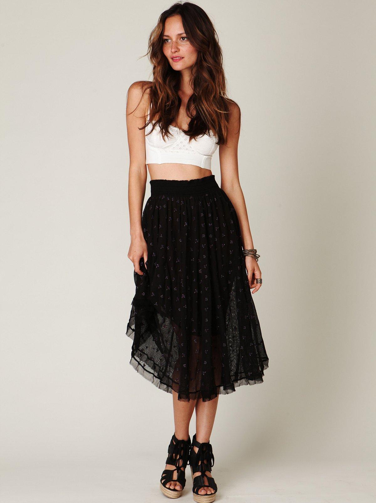FP New Romantics Mesh Embroidered Tea Length Skirt