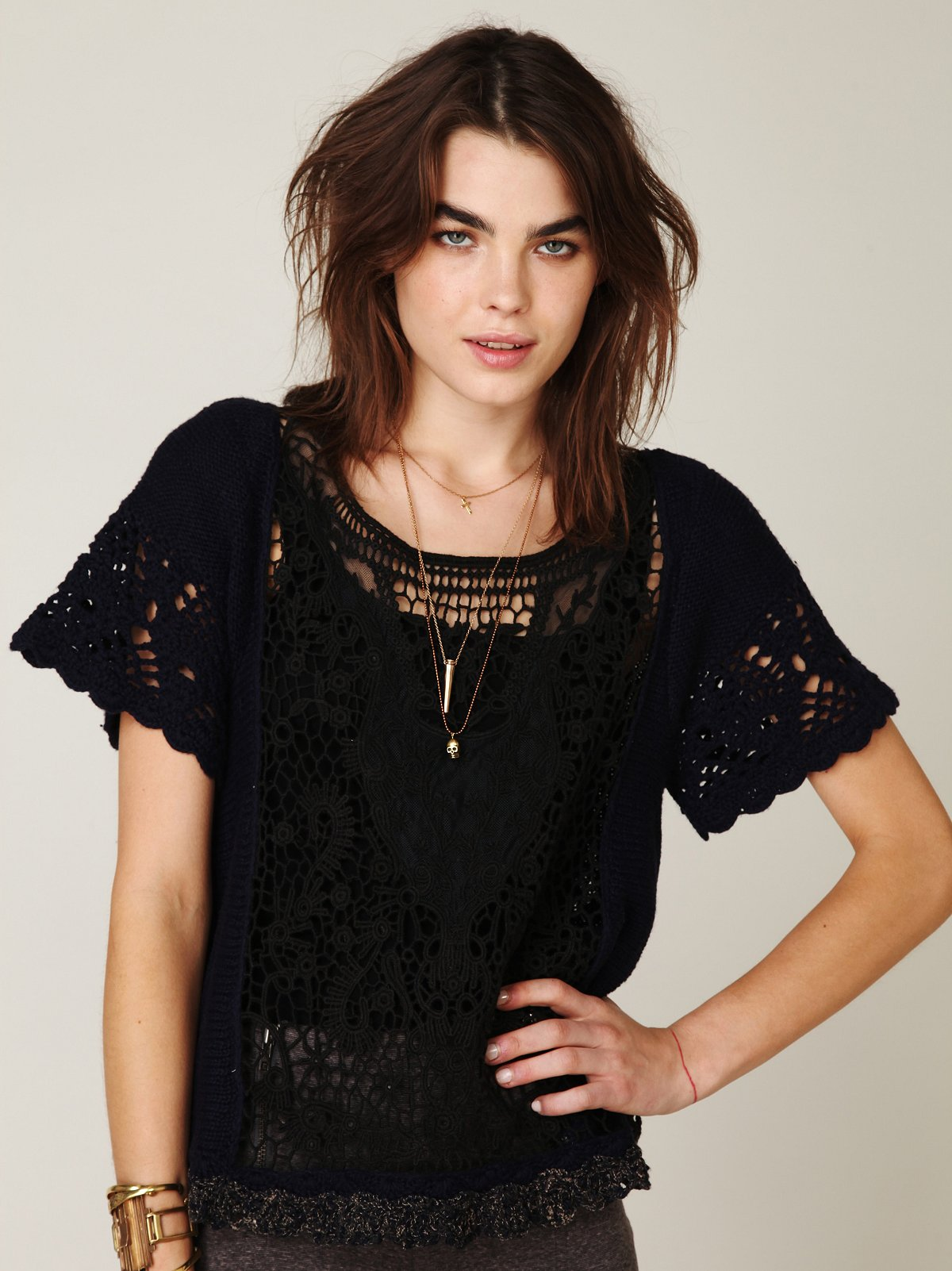 Cropped Lace Cable Pullover