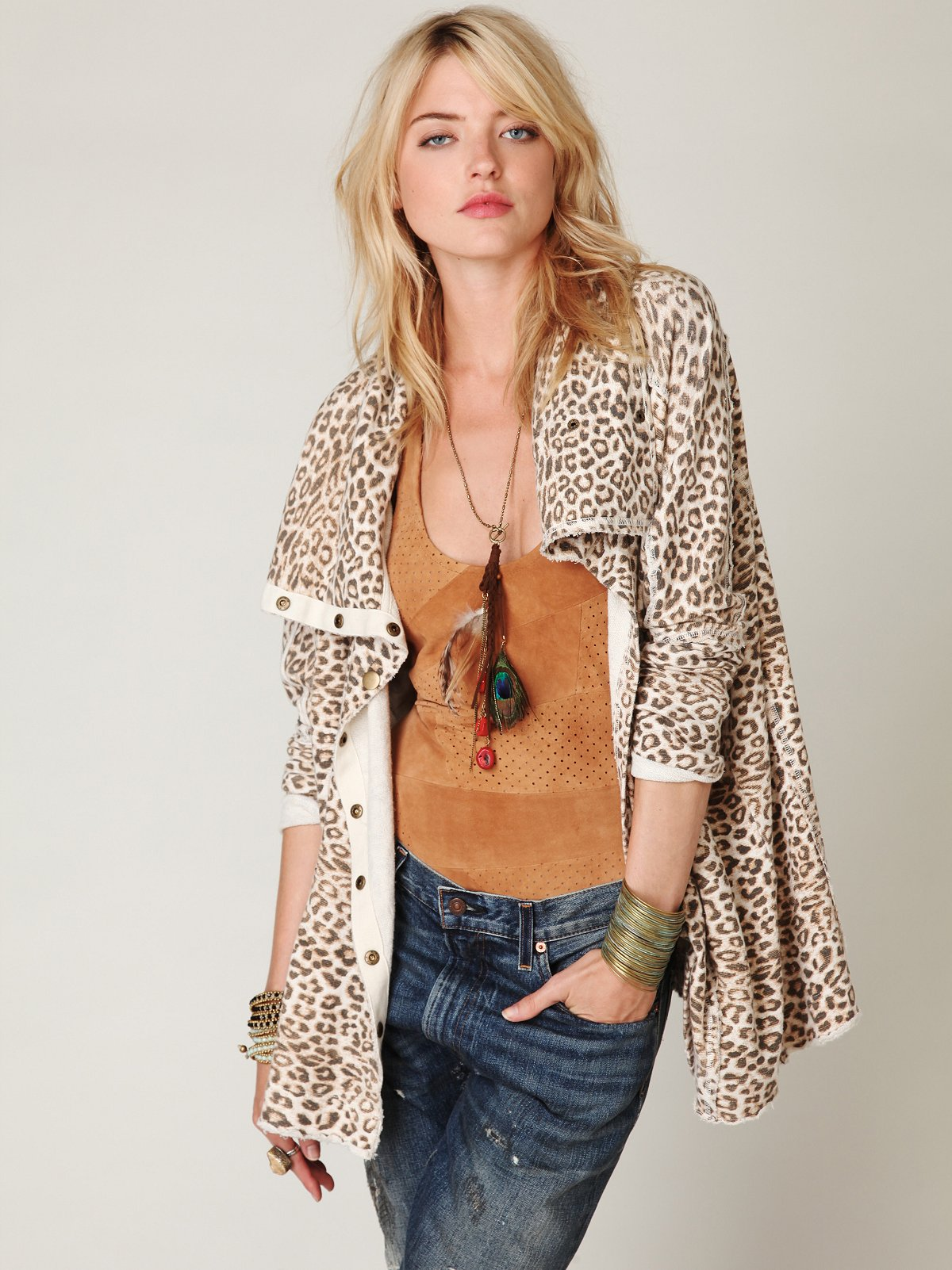 Leopard French Terry Cardigan