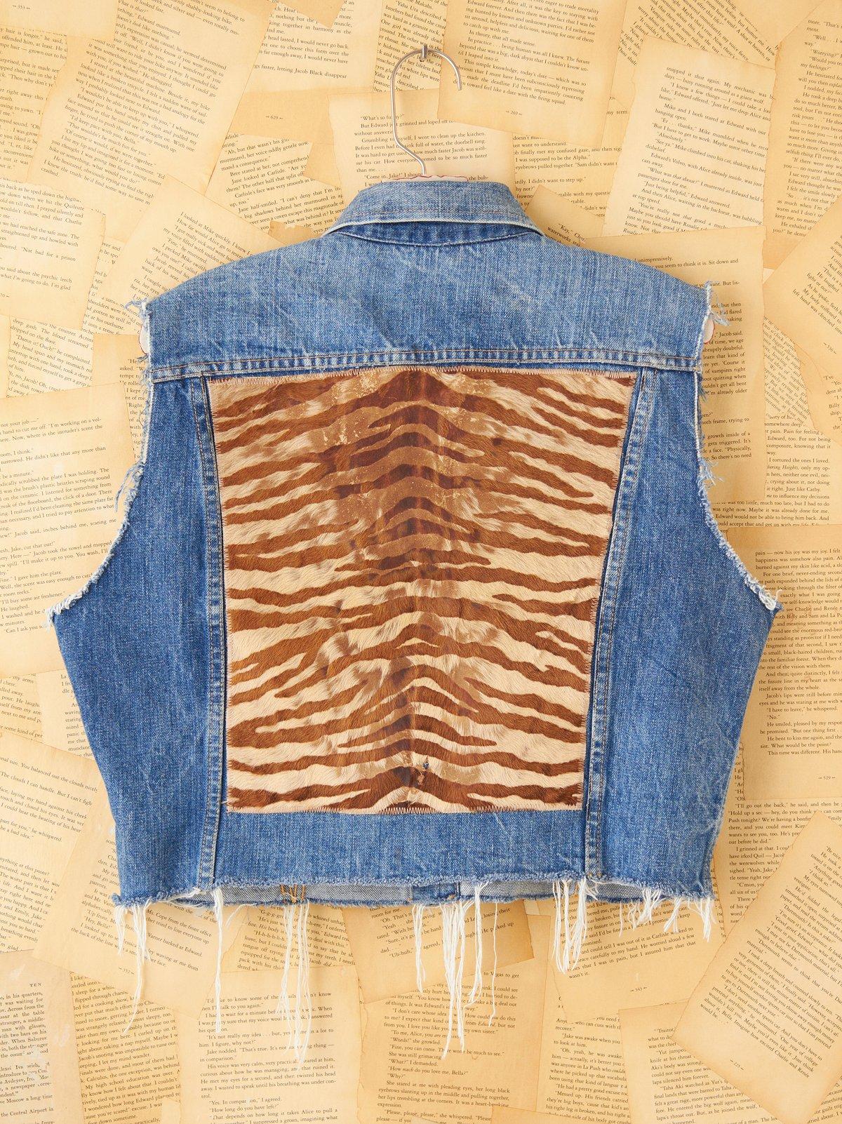 Vintage Printed Zebra Denim Vest