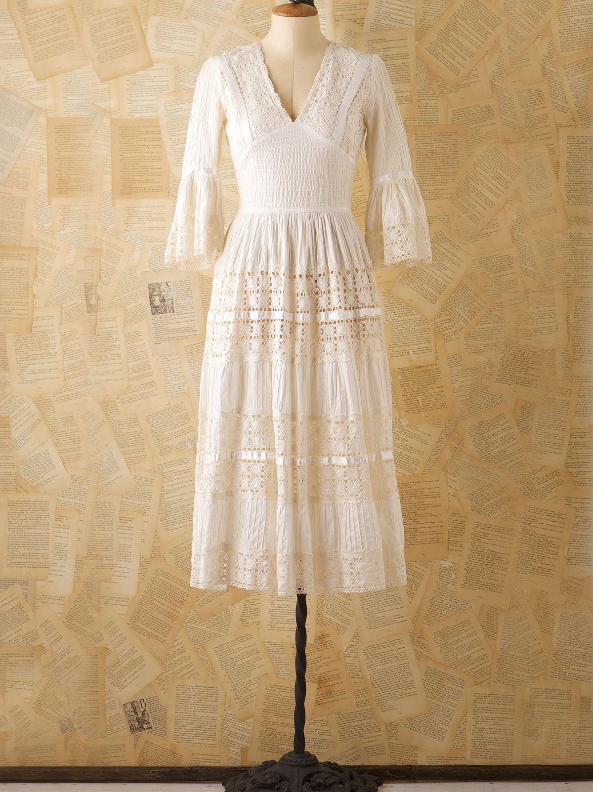 Vintage 1970s Lace Prairie Dress