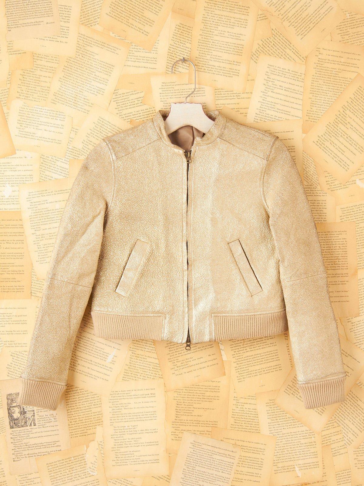 Vintage Gold Painted Leather Jacket
